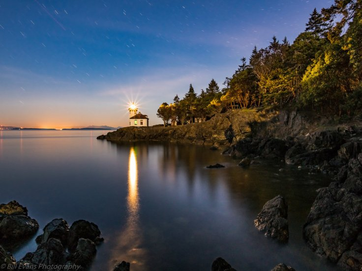 Image No. 6 - Moonlit Lime Kiln Lighthouse (San Juan Island, WA)   Sony A7Rii  + Adapted Lens (244s + iso 1250)