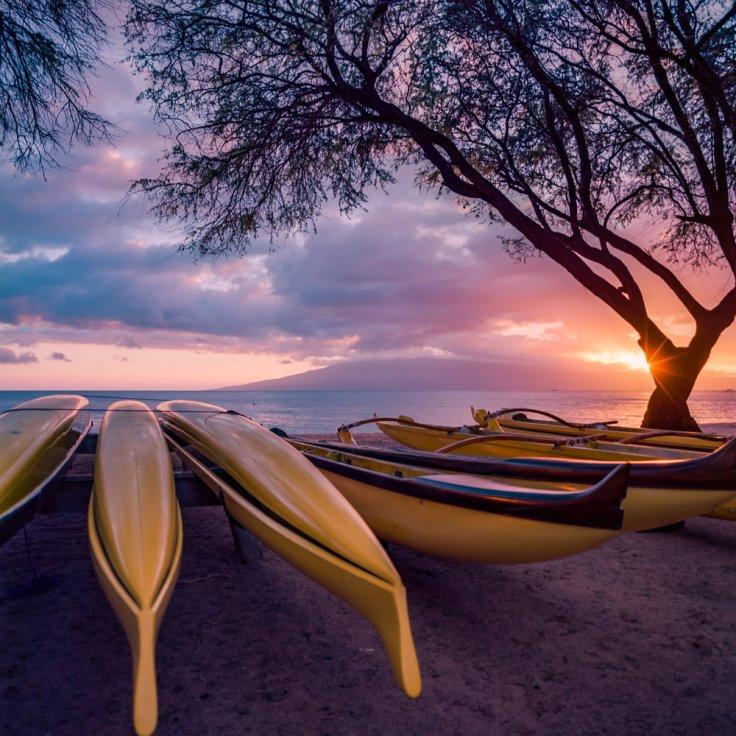Hawaiian Canoes -Sunset - Kaanapali, Maui HI Hasselblad 500CM + Kodak Ektar 100