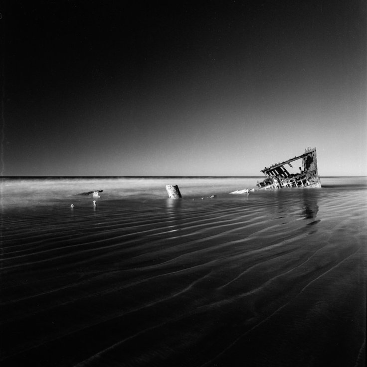 Wreck of the Peter Iredale -Fort Stevens OR Hasselblad Flexbody + Ilford Pan F Plus 50